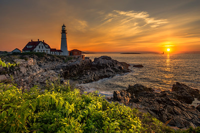 Beautiful Sunrise at Portland Head Lighthouse, Maine