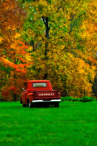 Old Red Chevy in Autumn