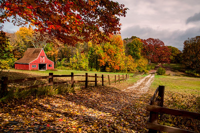 Small Red Barn in a farm, Connecticut