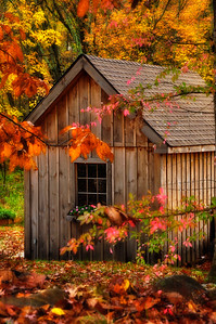 Old wooden cabin in fall