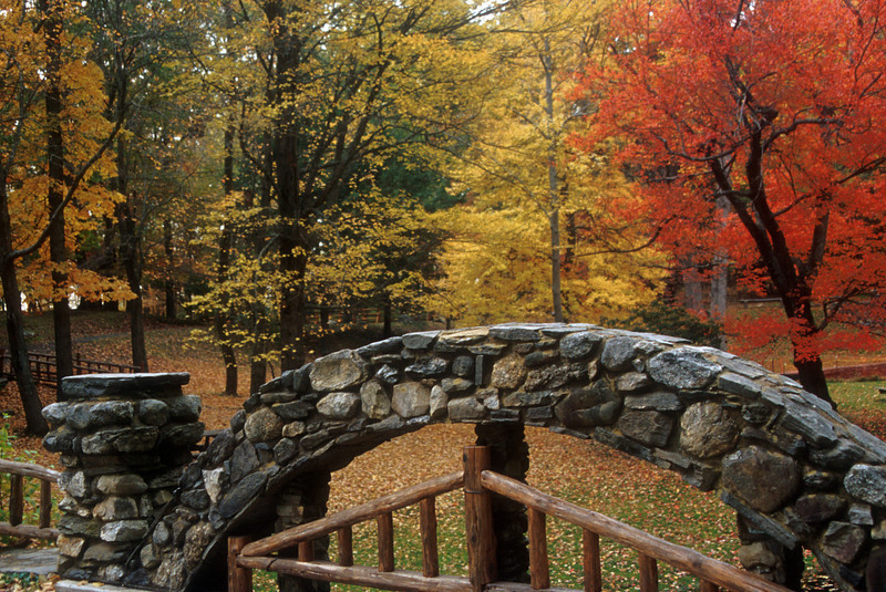 One of the stone bridges provides an ideal spot to view some intense fall color on the castle grounds.