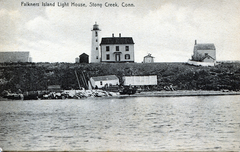 An old postcard view of Faulkner's Island Light showing the Keepers House and the typhoon horn fog signal.
