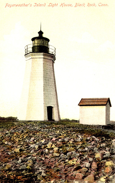 Old postcard view of the Fayerweather Island Lighthouse