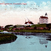 Old postcard view of the Great Captain Island Lighthouse
