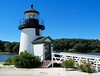 Although a different lighthouse was originally designed for the Museum, the plans used for the lighthouse built at Mystic, Connecticut are based on the 1901 wooden lighthouse built at Brant Point on Nantucket.