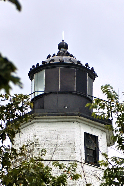 In 1857 the 11 oil lamps in the lantern were replaced by a 4th Order Fresnel lens.  The lens remains in the lantern today.  A steam whistle was also added to the lighthouse station in 1857 as a fog signal.