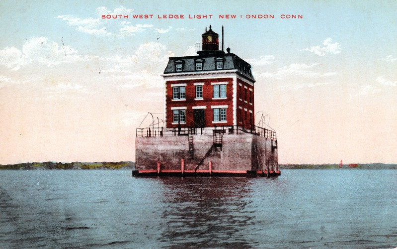 Old postcard view of the New London Ledge Lighthouse