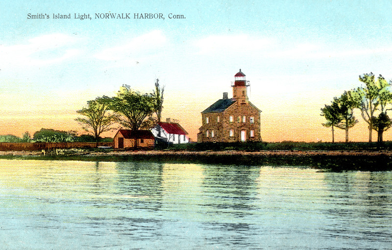 An old postcard view of the Sheffield Island Lighthouse