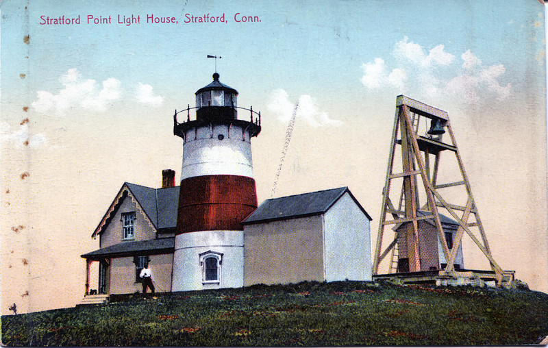 Old postcard view of the Stratford Point Lighthouse and its wooden fogbell tower