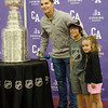 Mae, 4, and Gavin Roy, 9, pose for photos with Penguins player and Cushing Academy alum Conor Sheary and the Stanley Cup on Wednesday morning. SENTINEL & ENTERPRISE / Ashley Green