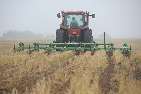 Strip tillage disk-row equipment is vital to healthy cropland in Knox County, Texas.