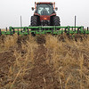 Strip tillage early in the morning at the Tidewell Farm in Munday, Texas.