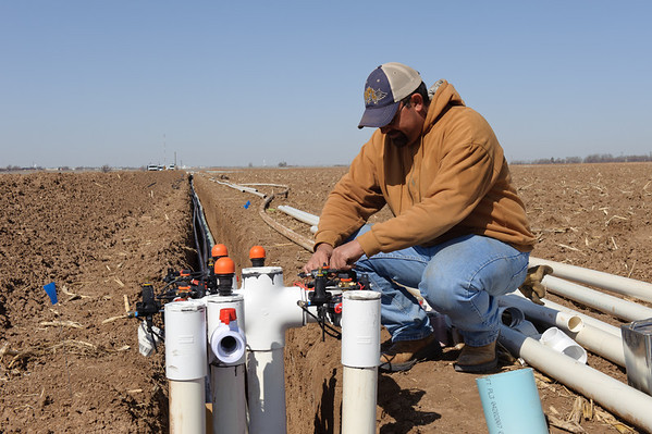Blake Davis Farms in Lamb County near Littlefield, Texas. A drip irrigation system is being installed. Irrigation valves are being worked on prior to permanent installation.