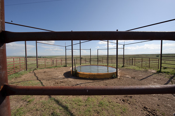 Livestock waterstorage facility in rotational grazing system in Gray County near Pampa, Texas.