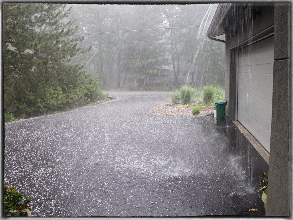 Hail on the Driveway
