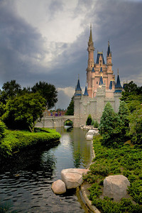 The Disney Magic Kingdom castle minutes before a heavy thunder storm. Orlando, Florida.