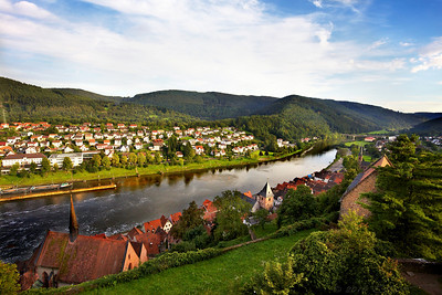 "The town of Hirschhorn (Neckar) in Hesse, Germany. It is known as ""The Pearl of the Neckar valley"". Hirschhorn sits at a horseshoe bend of the River Neckar, some 20 km east of Heidelberg."
