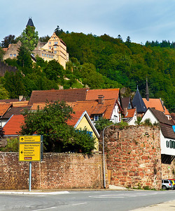 Hirschhorn (Neckar) in Hesse, Germany. The Castle (Schloss) now serves as a tourist attraction, with a hotel and restaurant.