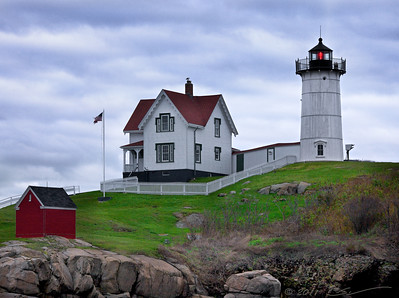 "Cape Neddick Light (a.k.a. the ""York Nubble"") on a cloudy afternoon. York, Maine."