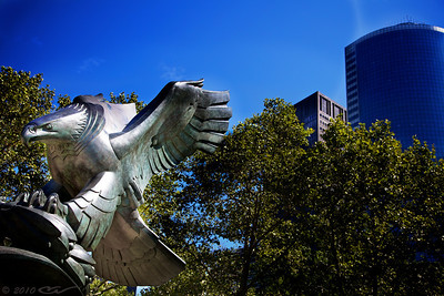 The monument of Bronze Eagle is part of the East Coast Memorial in the Battery Park. It signifies the mourning over the watery grave of the perished American seamen...