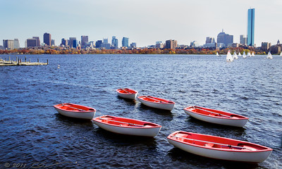 The Charles river and Boston skyline viewed from Cambridge, Memorial Drive.