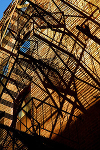 Elaborate fire escapes grace a typical building in Boston's North End...
