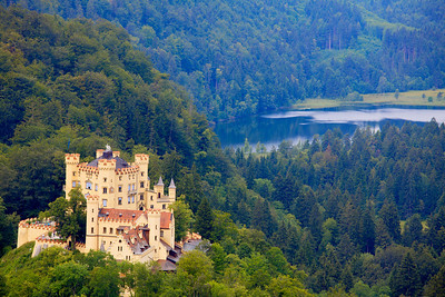 Schloss Hohenschwangau (Hohenschwangau Castle) in the village of Hohenschwangau near Füssen in southwest Bavaria, Germany.