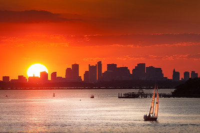 Sunset, Boston Skyline, view from World's End, Hingham, MA