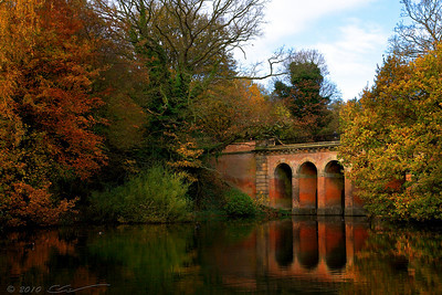 "Hampstead Heath, London. The 19th century Viaduct bridge, also known as ""The Red Arches""."
