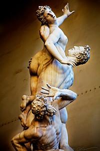 The Rape of the Sabine Women - one of the statues (on the far right) of the The Loggia dei Lanzi, ( a.k.a. the Loggia della Signoria) the building on a corner of the Piazza della Signoria in Florence, Italy.
