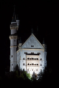 Schloss Neuschwanstein (Neuschwanstein Castle) - a 19th-century Romanesque Revival palace on a hill above the village of Hohenschwangau near Füssen in southwest Bavaria, Germany.
