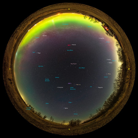 Panorama of the Milky Way-less Spring Sky (with Labels)