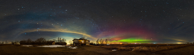 Late Winter/Early Spring Sky Panorama with Aurora