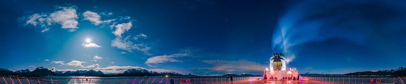 Moonlit Night Sky Panorama from Trollfjord