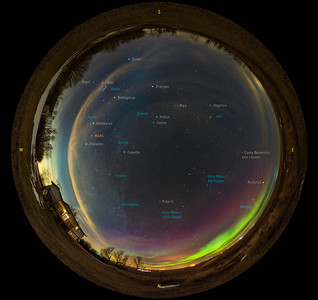 Late Winter/Early Spring Sky 360° Panorama (with Labels)