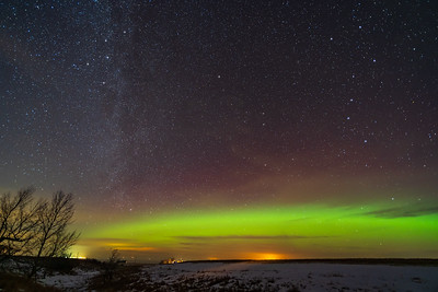 Auroral Arc with Big Dipper and Cassiopeia