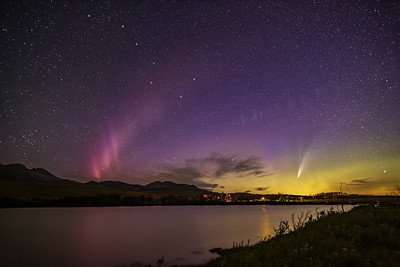 Comet NEOWISE and STEVE Aurora over Waterton River (July 14, 2020)