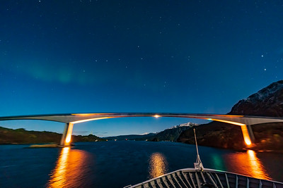 Faint Aurora Above the Rafsundet Bridge