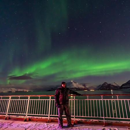 Selfie Under the Northern Lights in Norway