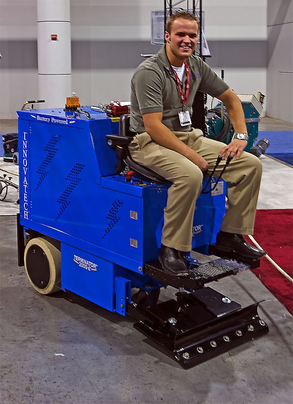 Construction remodeling, rehabilitation: Innovatech Terminator electric batter powered flooring remover can take up thousands of square feet per day of carpeting, ceramics, vinyl, hardwoods, roofing material, and other coverings. CONEXPO, Las Vegas, Nevada, March 15-19, 2005.