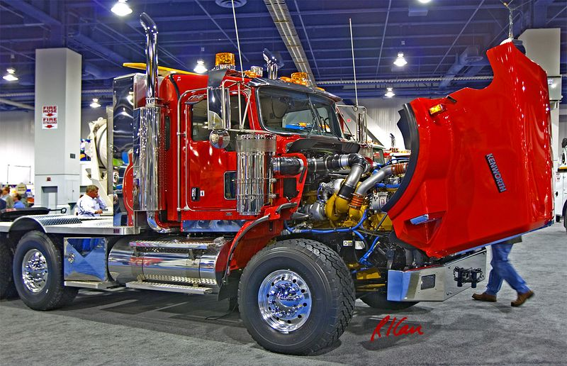 Construction hauling: Kenworth truck tractor with hood raised to exhibit engine and other components. CONEXPO 2005. Las Vegas, Nevada, March 15-18, 2005.