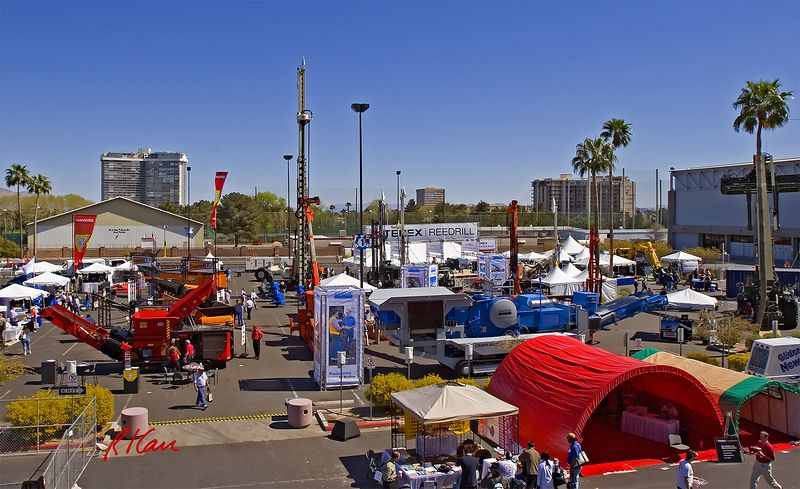 Subsurface and earthmoving construction: First day of CONEXPO 2005, Blue Lot exhibits of drills and augers and aggregate, asphalt, and concrete construction equipment. Las Vegas, Nevada, March 15, 2005.