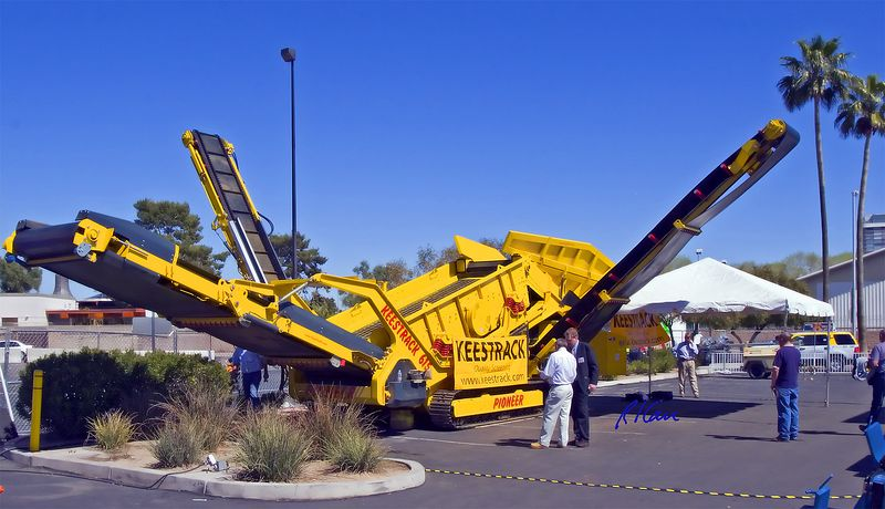 """Concrete, asphalt, aggregate construction: Keestrack Pioneer 614 mobile track mounted stone crusher and aggregate screener, manufactured in Belgium. Other good photos are at  <a href=""""http://www.keestrack.com"""">http://www.keestrack.com</a>. CONEXPO, Las Vegas, Nevada, March 15-19, 2005."""