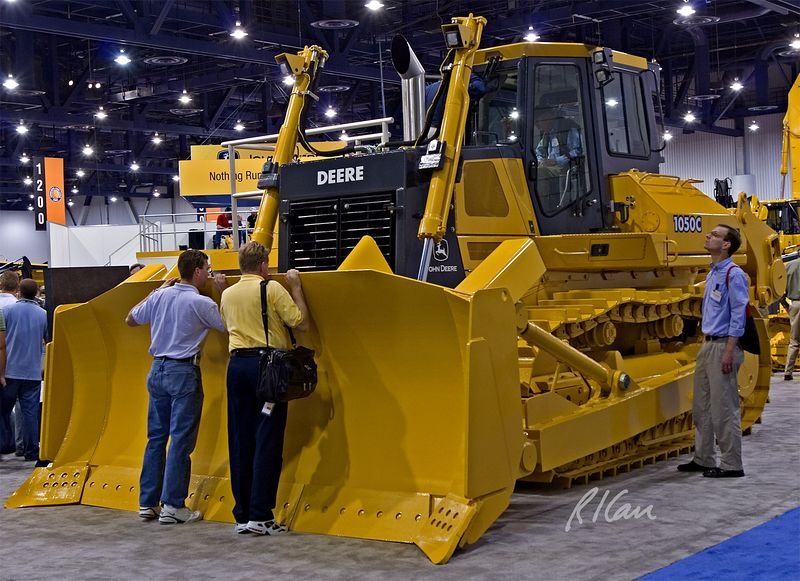 Earthmoving construction equipment: Second day of CONEXPO 2005. The John Deere 1050C dozer with ripping teeth on back. Las Vegas, Nevada, March 16, 2005.