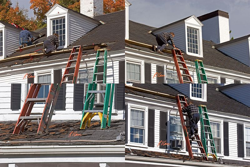 Construction safety: Stepladder is misused as straight ladder. Stepladder feet sit on roof that slopes away, without proper footing or cleating, and it can easily slip down roof when used, as here. Ladder to be mounted and dismounted from top, as shown here, should be tied off at top and extend at least 3 ft above dismount point. Massachusetts 2004.