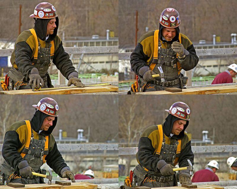 Concrete Bridge Construction: Formwork carpenter for reinforced concrete sidewalk and deck.  Broadway Bridge, Ann Arbor, March, 2004.