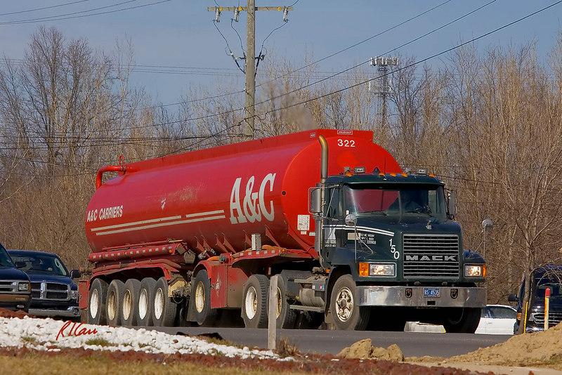 Mack semi-tractor and Fruehauf tank semi-trailer. Carpenter Road and Michigan Avenue/US 12, Ann Arbor, Michigan, March 2007.