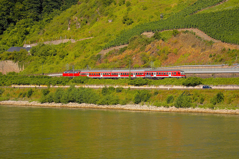 Diesel locomotive passenger train speeds along below vinyards on north bank of Rhine River, Germany. July, 2006.