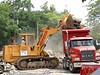 Building construction demolition. Load demolition debris-3. YMCA, Ann Arbor, 2003