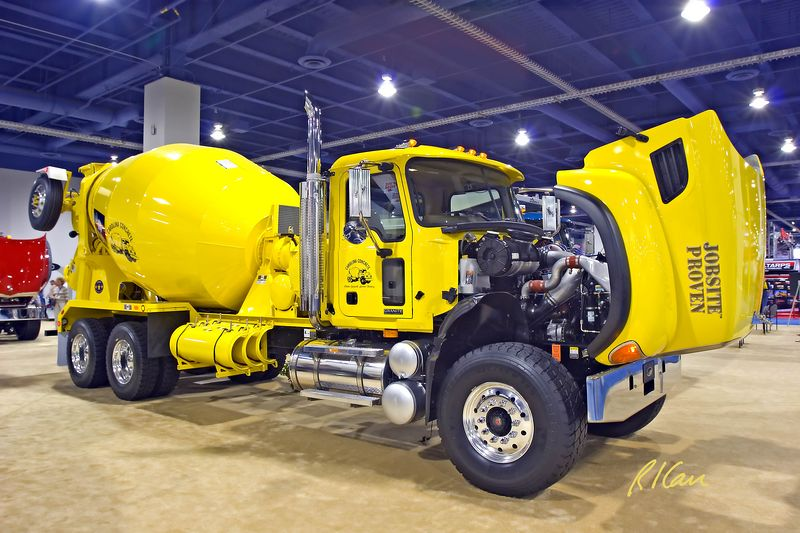 Concrete construction: Mack Granite chassis readymix concrete truck. CONEXPO, Las Vegas, Nevada, March 15-19, 2005.